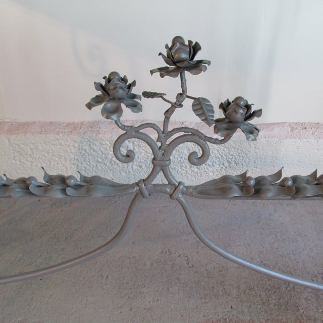 Antique French Garden Console Table With Marble Top For Sale In New York - Image 6 of 13