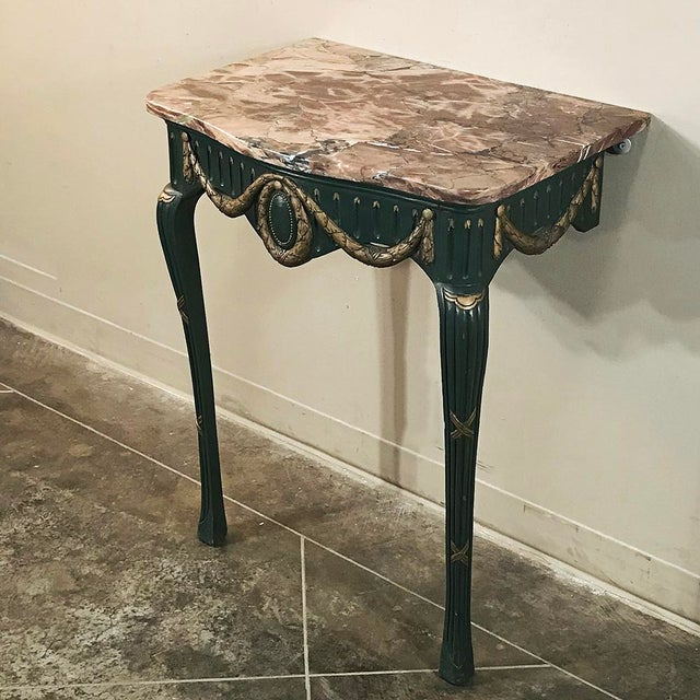 19th Century Italian Carved Wood Painted Marble Top Console With Mirror For Sale - Image 4 of 13