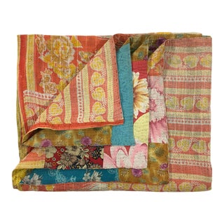 Subtle Blooms Rug and Relic Kantha Quilt