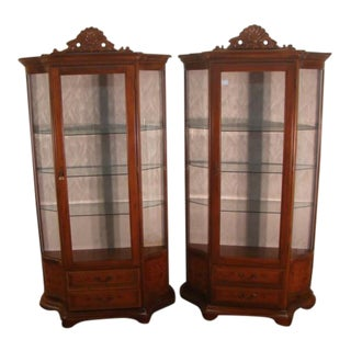 Italian Cherry Inlay Curio China Cabinets- A Pair For Sale