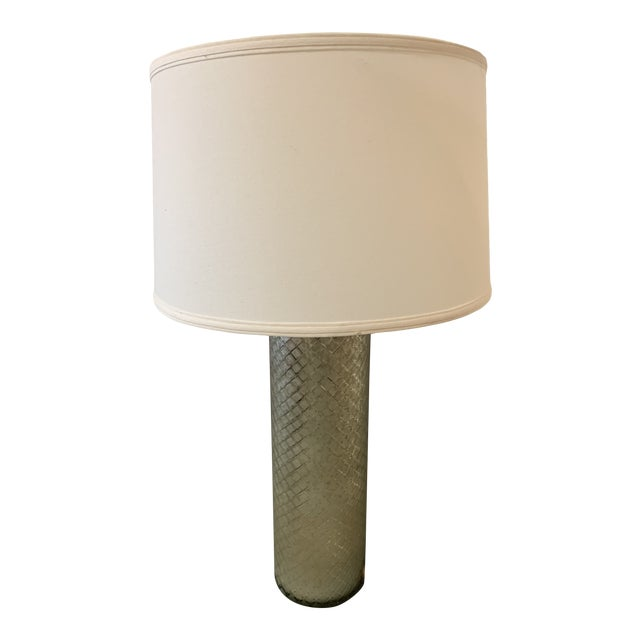 Ethan Allen Lattice Glass Table Lamp With Shade For Sale