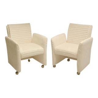 Pair of White Suede Armchairs by Milo Baughman on Castors For Sale