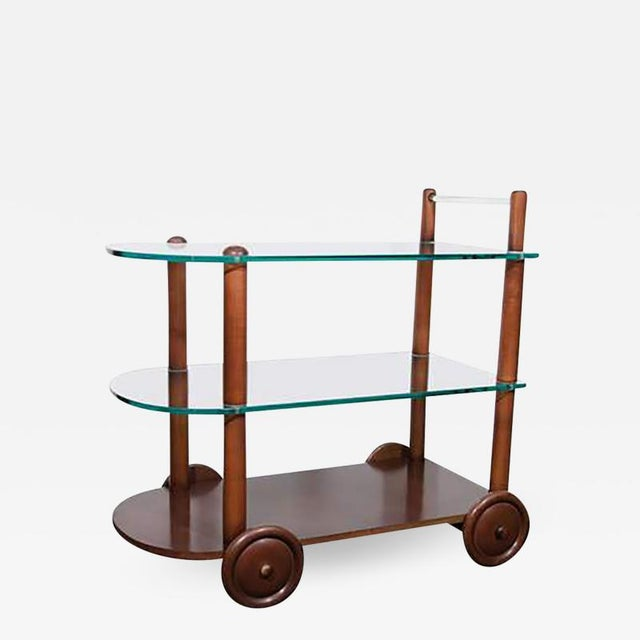 Gilbert Rohde Art Deco Gilbert Rohde Bar Cart All Original Glass and Wood For Sale - Image 4 of 4