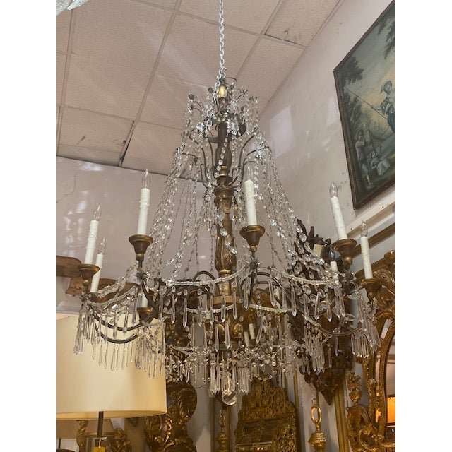 19th C. Italian Antique Element Carved Wood, Iron and Crystal Chandelier For Sale - Image 13 of 13