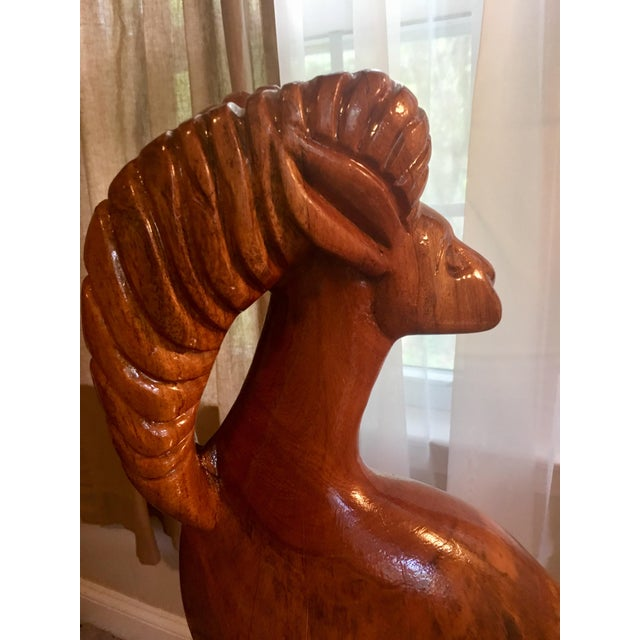 Brown Large Hand Carved Ram Statue For Sale - Image 8 of 8