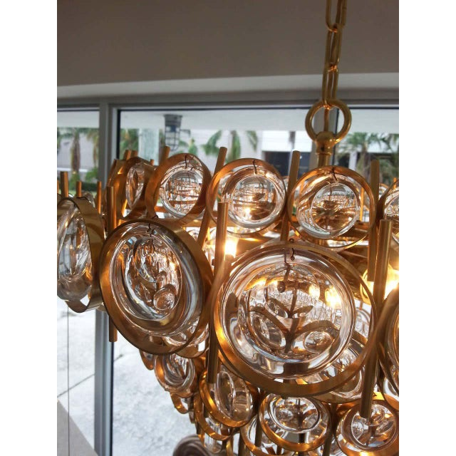 Gold Plate and Crystal Chandelier by Palwa For Sale In West Palm - Image 6 of 12