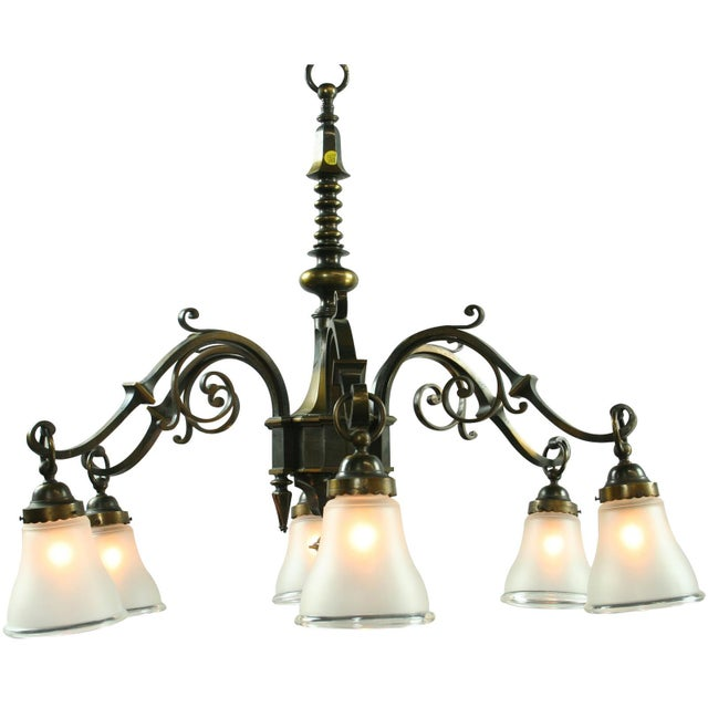 Large Heavy Vintage French Gothic Chandelier 6 - Image 1 of 3