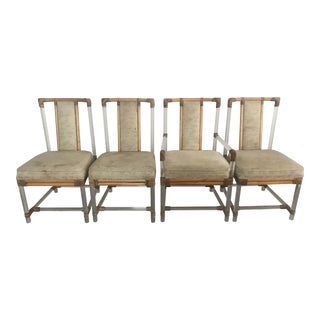 Vintage Ficks Reed Lucite & Rattan Tall Back Chairs - Set of 4