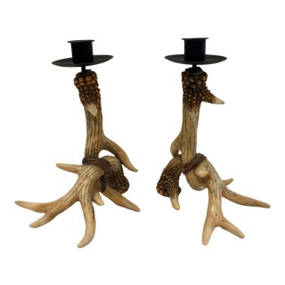Mid-Century Resin Antler Candlestick Holders - a Pair For Sale