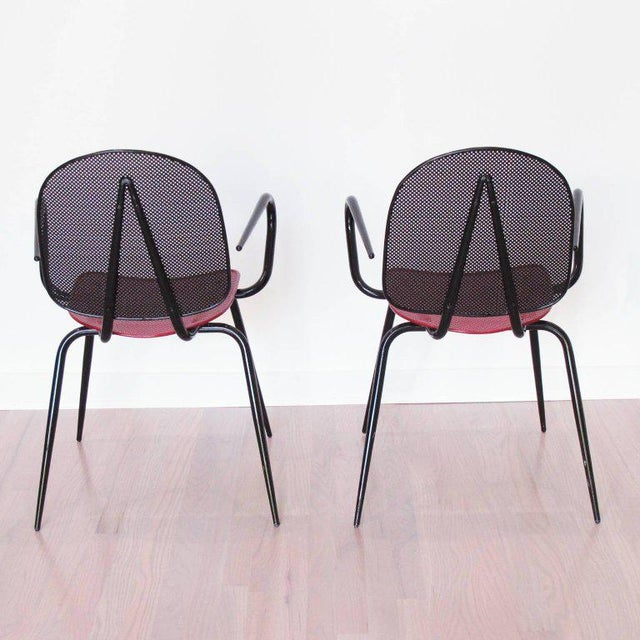 Mathieu Matégot Manner of Mathieu Mategot Black and Red Perforated Metal Armchairs For Sale - Image 4 of 11
