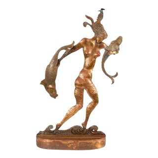 Art Deco Sculpture of a Nude Woman Carrying Fish For Sale