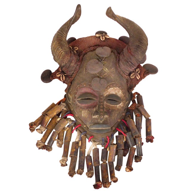 African Bamileke Tribal Mask From Cameroon W/Horns For Sale