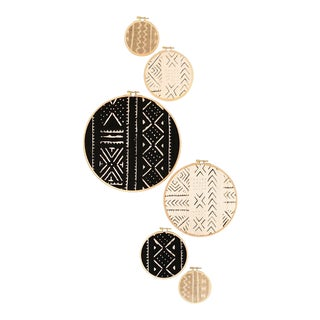 African Mudcloth Gallery Wall Hanging Wood Circle Decor Set - 6 Pieces For Sale