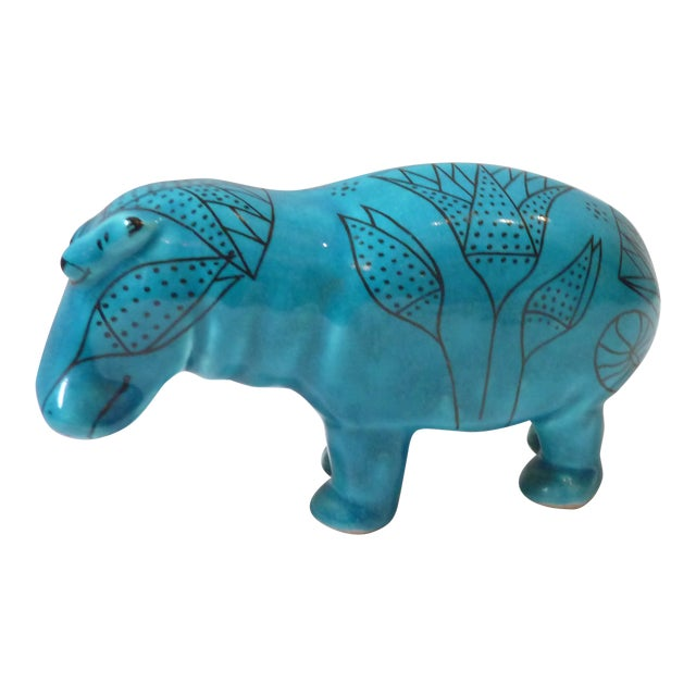Vintage Faience Hippo Figurine For Sale