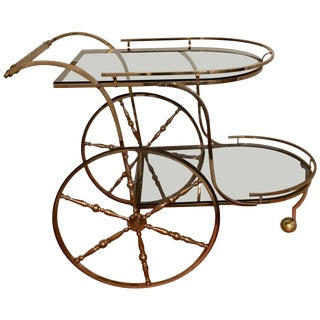 Midcentury Italian Brass Bar Cart For Sale