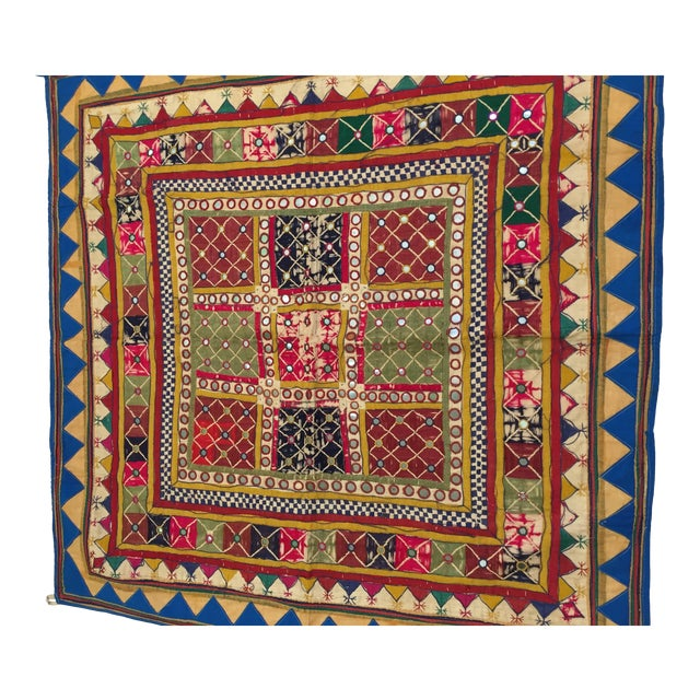 This is a beautiful embroidered square ceremonial cloth hanging textile. This piece is made by the Mahajan people,...