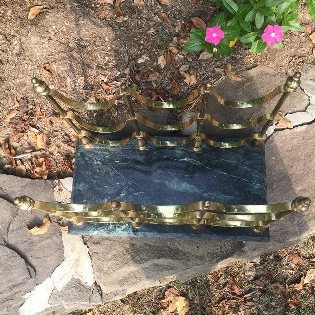 Gold Vintage Brass & Marble Nine Bottle Wine Rack For Sale - Image 8 of 8