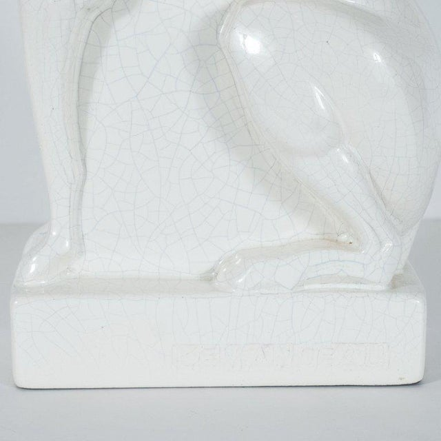 French Art Deco Craqueleur White Ceramic Greyhound Signed by Charles Lemanceau For Sale - Image 9 of 10