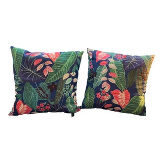 Vintage Boho Chic Tropical Palm Frond Floral Pillows Rodeo Home Beverly Hills - a Pair For Sale