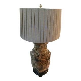 Vintage Wine Cork Filled Table Lamp