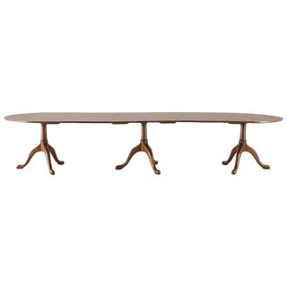 Georgian Style Triple Pedestal Mahogany Dining Banquet Table For Sale