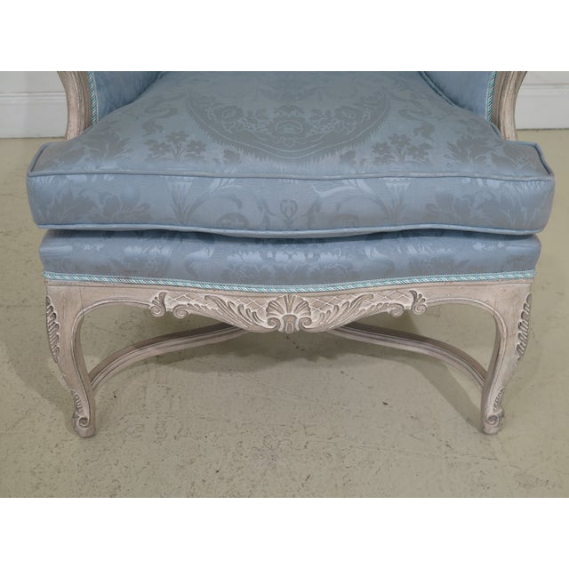 French French Louis XV Style Carved Wing Chairs & Ottoman - 3 Pieces For Sale - Image 3 of 13