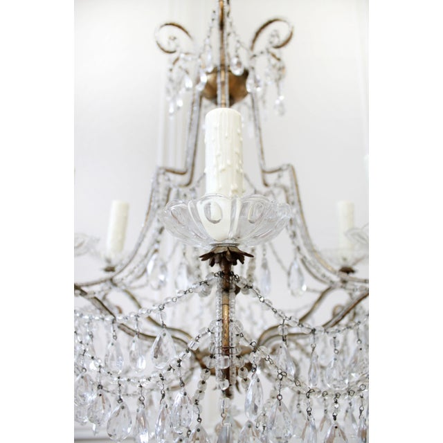 1940s Antique French Beaded Arm Chandelier For Sale - Image 5 of 9