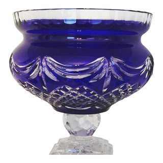 Large Bohemian Cobalt Blue - Cut to Clear - Footed Crystal Bowl For Sale