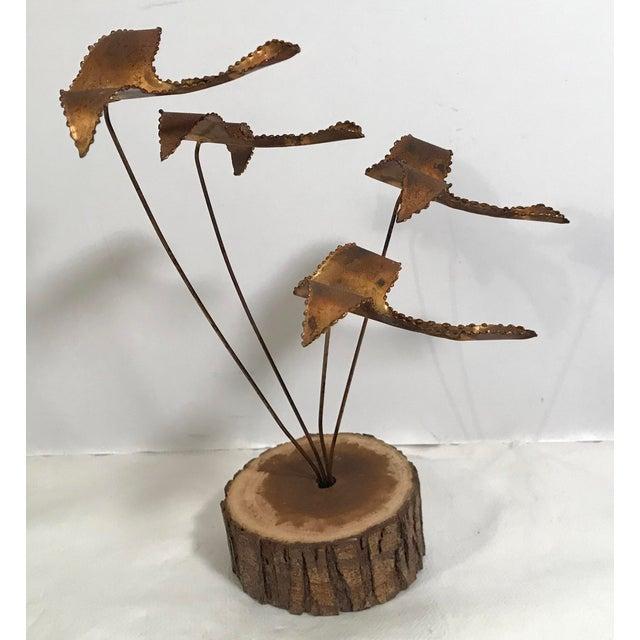 """Metal Vintage Brutalist """"Geese in Flight"""" Metal Sculpture For Sale - Image 7 of 11"""