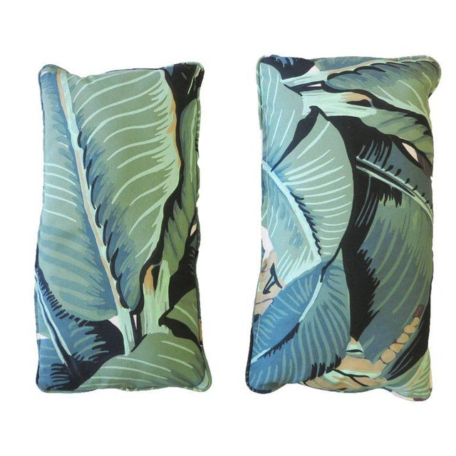 Custom-made Beverly palms lumbar cushions with the same pattern was created by decorator Don Loper in 1942 for the Beverly...