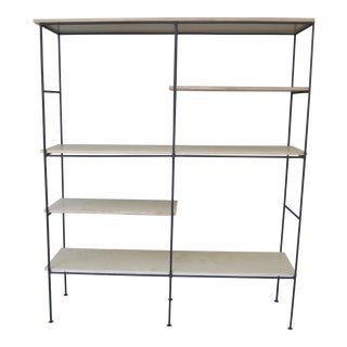 1980s Industrial Muriel Coleman Wrought Iron Bookshelf Etagere For Sale