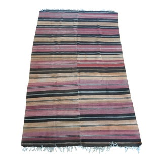 Early 20th Century Antique Striped Kilim Rug - 4′10″ × 7′11″ For Sale