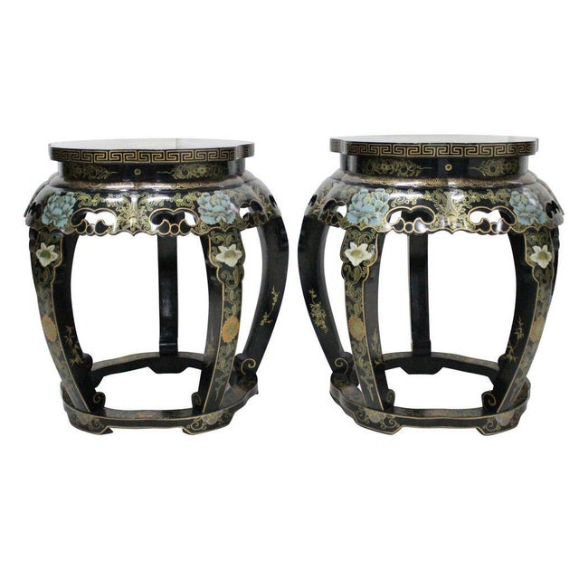 Chinoiserie Black Lacquer Stools - A Pair - Image 1 of 4