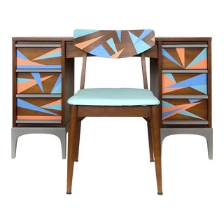 1960s Vintage Lane Furniture Mid-Century Modern Desk & Chair - 2 Pieces For Sale