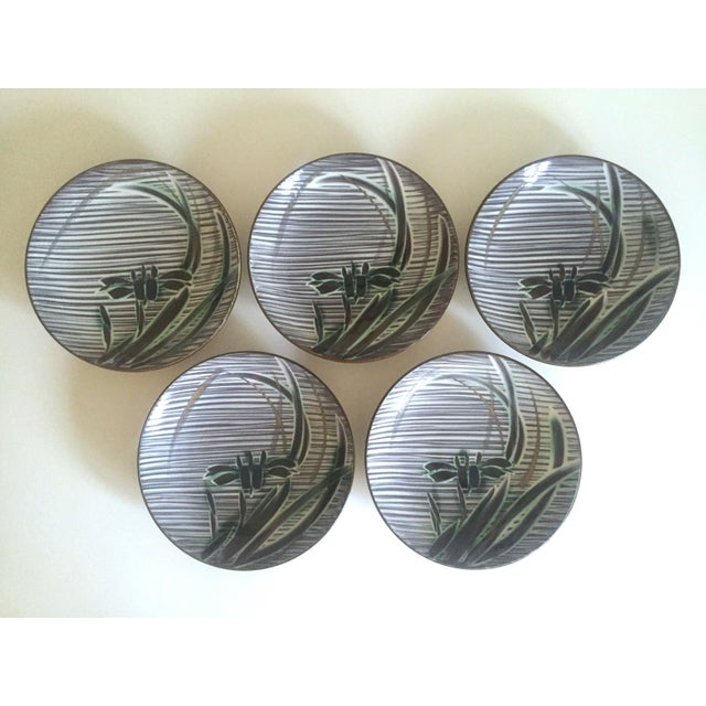 Vintage Mid-Century Modern Occupied Japan Irises Ceramic Plate Bowls - 5pc Set For Sale - Image 9 of 11