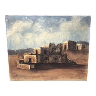 """Late 20th Century """"Pueblo in the Desert"""" Southwestern Landscape Oil Painting by E. Wiesner For Sale"""