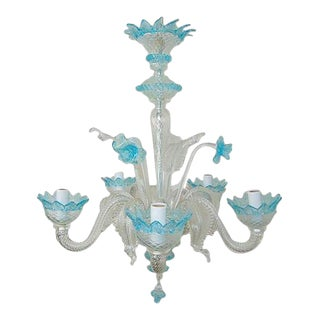 Vintage Murano Glass Chandelier Blue For Sale
