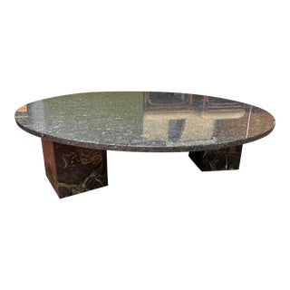 1980s Round Marble/Granite Coffee Table For Sale