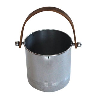 Chrome Ice Bucket With Wood Handle For Sale