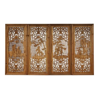 Chinese Open Carved Interior Window Panels - Set of 4