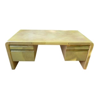 1980s Mid-Century Modern Karl Springer Segmented Goatskin/Leather Covered Desk For Sale