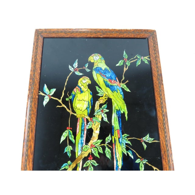 Late 19th century Americana Folk Art tinsel painting of tropical birds attributed to Alice Knight. Tinsel reverse art was...
