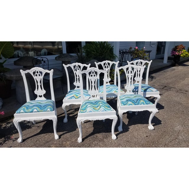 Set of 6 White Chippendale Dining Chairs For Sale - Image 11 of 12
