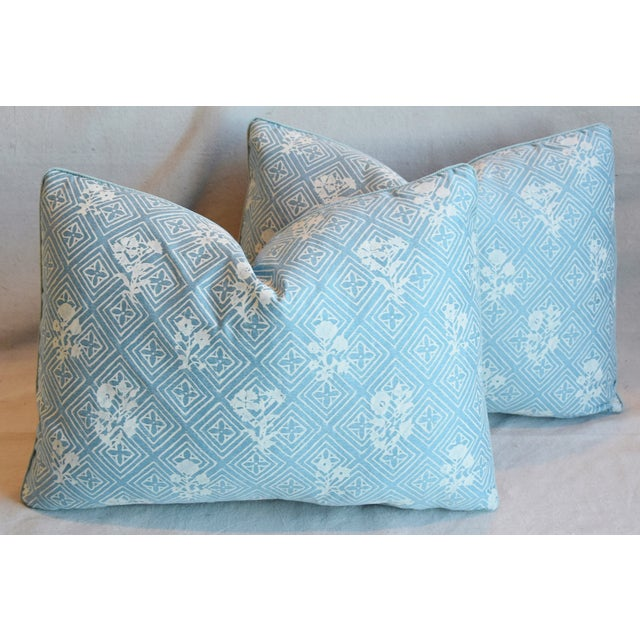 """Feather Blue & White Italian Mariano Fortuny Feather/Down Pillows 22"""" X 16"""" - Pair For Sale - Image 7 of 13"""