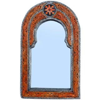 Orange Moroccan Mirror W/ Bone Inlay For Sale