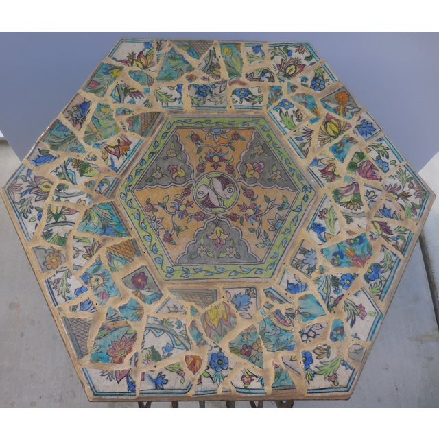 Antique Persian Mosaic Tile Table - Image 3 of 11