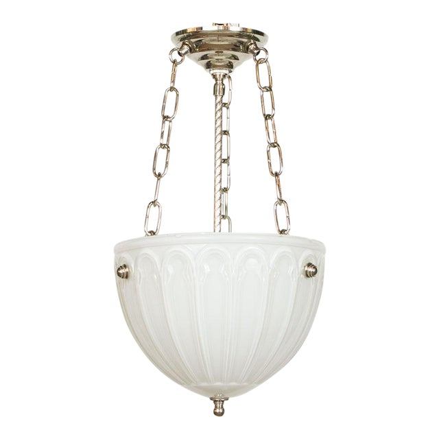 C. 1910 Cased Glass Bowl Fixture For Sale