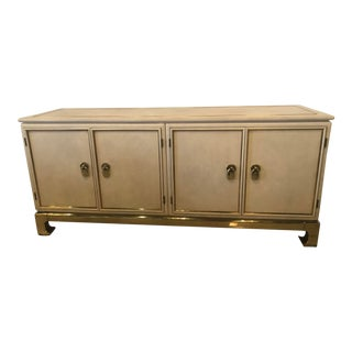 Vintage Mastercraft Faux Leather Brass Credenza Buffet Sideboard For Sale