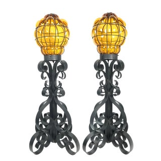 Mid Century Wrought Iron Lamp With Caged Amber Glass- a Pair For Sale