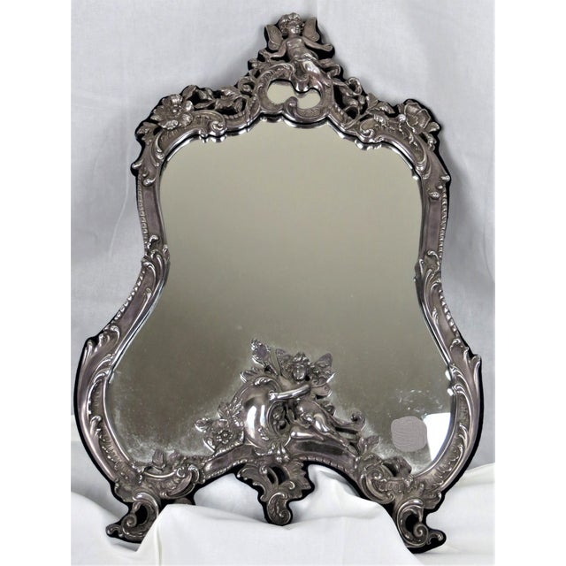 Metal Vanity Sterling Silver Vintage Mirror On Easel Stand For Sale - Image 7 of 7